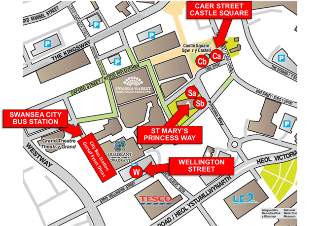 Swansea City Centre Alternative Bus Stop Map